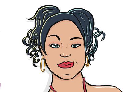 Miniperla illustration art ink digital women urban latina girls portrait