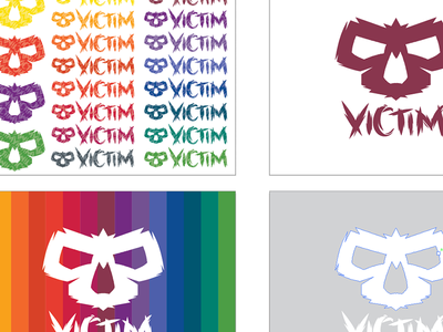 Victim More Wip logo spectrum rainbow brand design skull victim wip