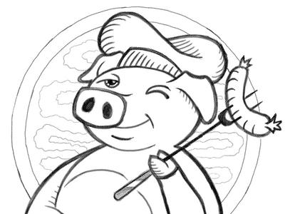 Piggy Mascot logo sketch drawing concept