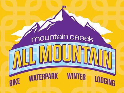 All Mountain Sports ski mountain creek pass art icon logo snowboard winter resort illustrator