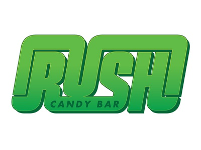 Rush Candy Bar logo bar candy 70s resort identity typography tungsten lettering movie movie poster type gradient highlights rush candy bar rush candy bar mountain creek