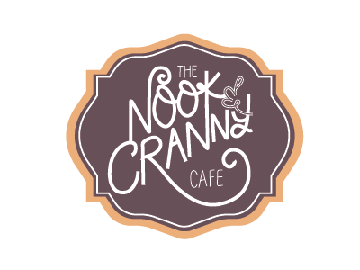 The Nook and Cranny Cafe typography hand-lettering logo
