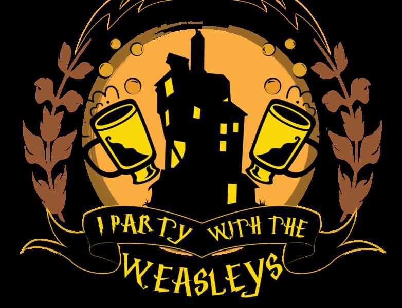 I Party with the Weasleys butter beer logo design logotype tshirt design vector art fantastic beasts harry potter logo branding design vector inktober halloween