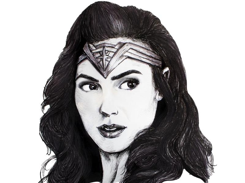 Gal Gadot (Wonder Woman 1984) portraits artwork dc comics gal gadot wonder woman ww84 design markers ink pen illustration