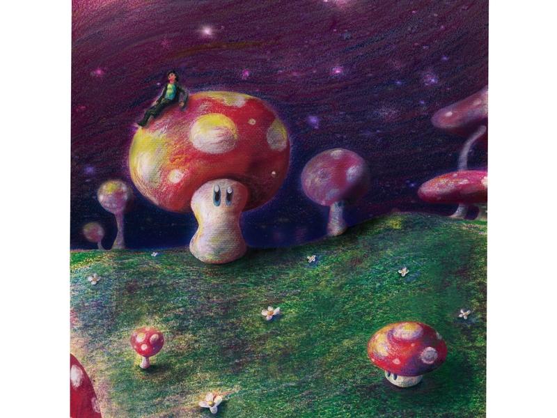 Shigeru Miyamoto in the Mushroom Kingdom starry night shigeru miyamoto nintendo switch video game illustration art paper art procreate app papr mario super mario color pencils markers illustration