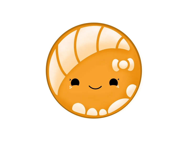 Cute Orange Concha Pan Dulce redbubble ipad procreate art procreate app cute kawaii chibi mexican food pan dulce concha design vector logo illustration