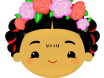 Frida Kahlo Cute Chibi digitalart ipadpro procreate5x procreate app vector illustration cute kawaii chibi frida kahlo mexican independence day hispanic heritage month vector