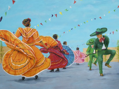 Baile Folklorico Dance oil on canvas canvas art dia de los muertos day of the dead hispanic dance baile mexican art oil paint acrylic painting paintings