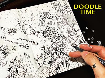 Alien Invasion Doodle chibi weird trippy daily art draw sketchbook doodles doodle art alien halloween inktober design markers ink pen illustration