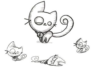 Cute Chibi Cat animals kitten cat design markers ink pen illustration