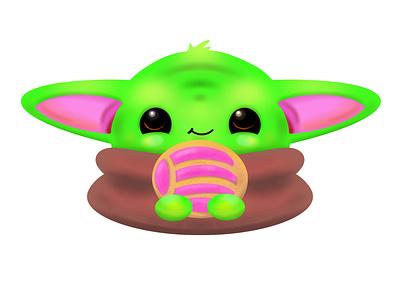 "The Child Grogu ""Baby Yoda"" boba fett baby yoda procreate art draw mexican concha kawaii cute chibi yoda starwars digital painting digital illustration procreate art illustraion grogu"