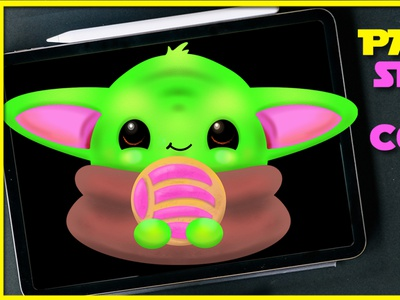 "Grogu The child ""Baby Yoda"" procreate art pan dulce concha digital illustration star wars ahsoka tano the mandalorian mando baby yoda yoda grogu digital painting digital art procreate vector"