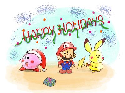 Happy Holiday's from Kirby, Mario & Pikachu ipad art draw ipad pro procreate super smash bros kirby pikachu nintendo illustration