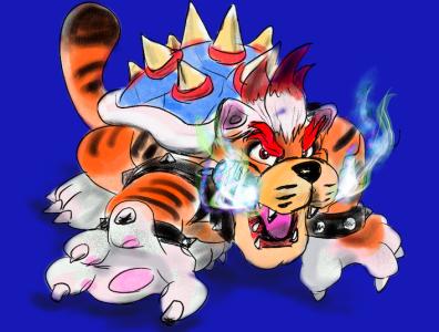 Meowser (Super Mario 3D World + Bowser's Fury) digital painting drawing art illustration procreate app ipad procreate art nintendo switch super mario bowser