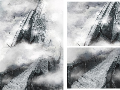 Castle in the Clouds nightlife noir black and white perspective mood artist pencil art illustrations illustration art illustrator shading illustration pencil fantasy dragons castle