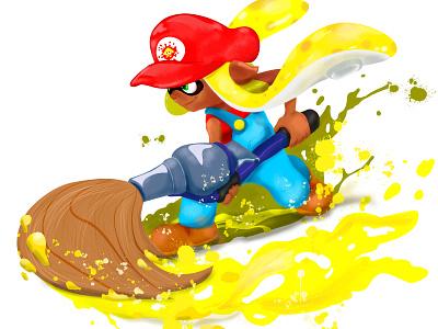 Super Mario Inkling Girl (Splatoon) inkbrush nerd geek videogames fanart illustration art ipad pro procreate art splatoon inkling nintendo illustration