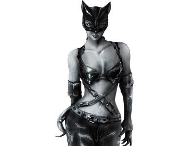 Halle Berry (Catwoman 2004) illustration vector design halloween draw art batman comics dc comics procreate pencil graphite catwoman