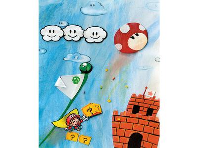 Jumpman ink pen super mario world design painting sky clouds mushroom cut paper arts and crafts water color super mario bros color pencil super mario video games nintendo illustration