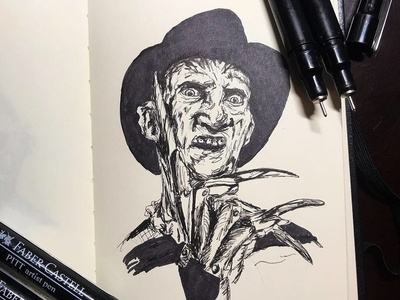 Freddy Krueger nightmare on elm street freddy krueger markers design horror movie halloween sketchbook pens ink pen inktober 2018 inktober illustration