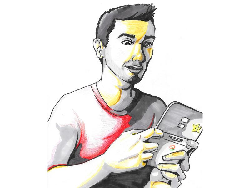 Self Portrait Caricature super mario color pencils caricatures caricatura cartoon self protrait gameboy 3ds video games nintendo markers ink pen illustration