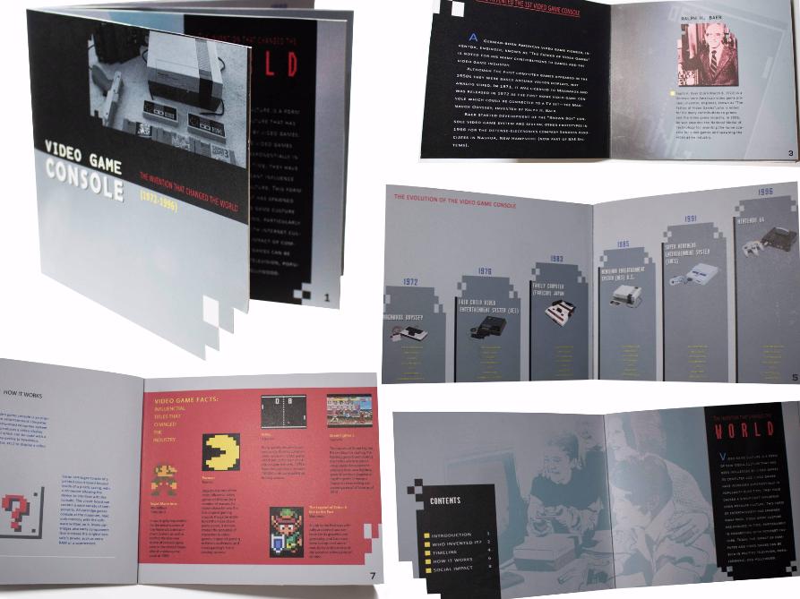 Video History Booklet Concept illustrator adobe indesign mock up booklet design zelda pac man atari nintendo video games typography branding vector logo design