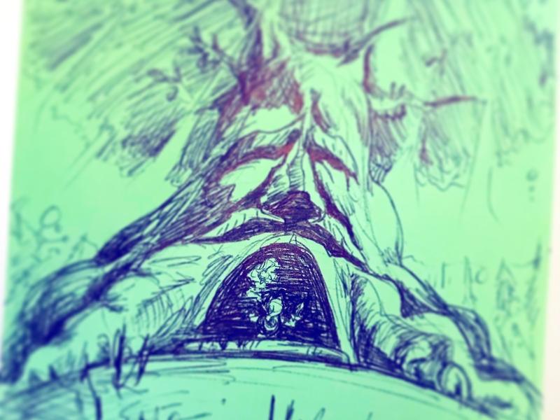 The Great Deku Tree smash bros nintendo switch navi kokiri lost woods hyrule forest ocarina of time legend of zelda zelda young link link deku tree video games ink pen illustration
