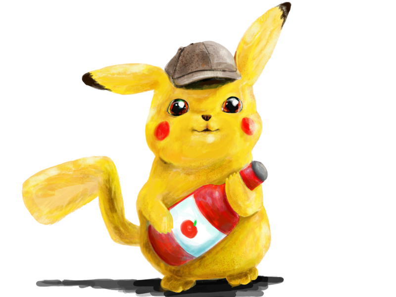 Detective Pikachu & his Ketchup digital painting videogames jrpg nintendo switch pokemon sword and shield pokémon pokemon go detective pikachu pokemon vector illustration