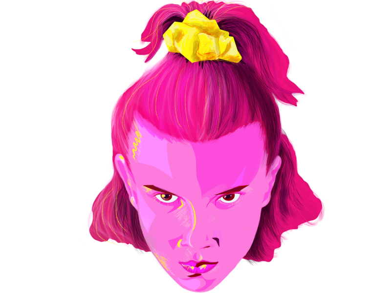 Eleven (Millie Bobby Brown) Stranger Things digital color pencil digital painting pink hair popart pop art millie bobby brown eleven stranger things halloween vector