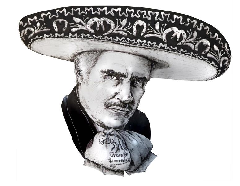 """Vicente """"Chente"""" Fernández Gómez pen and ink pencil crosshatching realism portrait art sombrero mexican art mexicano vicente fernandez markers ink pen illustration"""