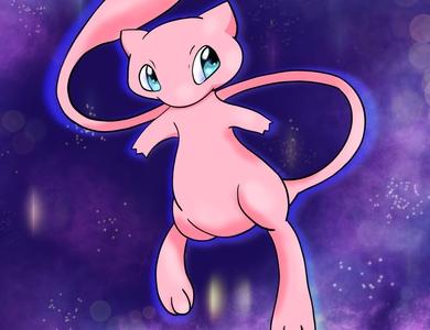 Mew digital painting pokemon mew procreate app acrylic painting vector illustration