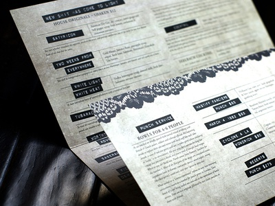 Emmanuelle Bar Menu restaurant menu drinks lace labels