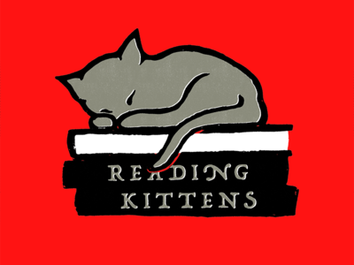 Reading Kittens logo cat illustration kitten reading read