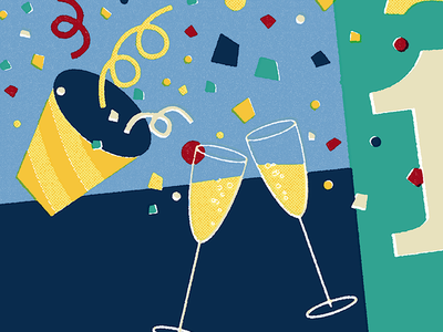 Happy New Year party new year 2019 2019 confetti party popper champagne new year happy new year illustration