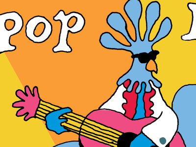 Pollo illustration pdx pop now! pollo chicken guitar