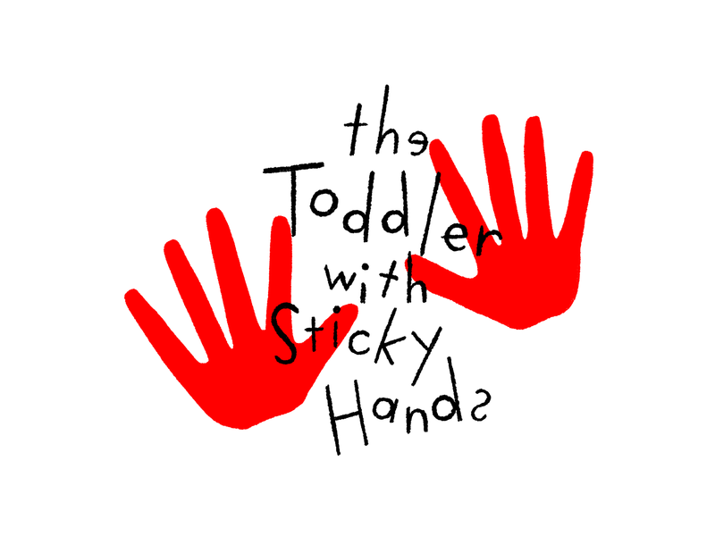 The Toddler with Sticky Hands design black white and red all over illustration handlettering lettering typography horror scary big scary poster show poster