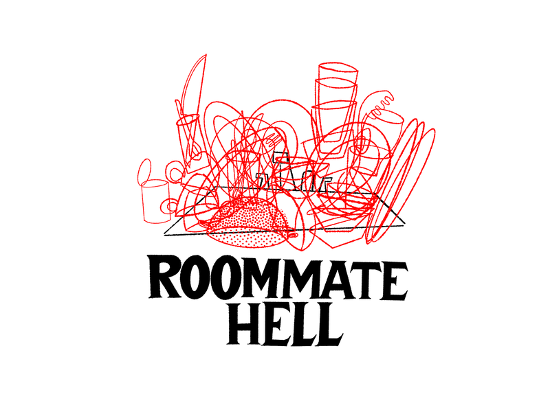 Roommate Hell design black white and red all over illustration handlettering lettering typography horror scary big scary poster show poster