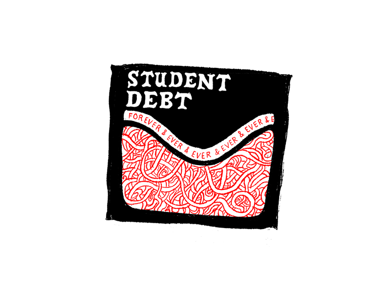 Student Debt design black white and red all over illustration handlettering lettering typography horror scary big scary poster show poster