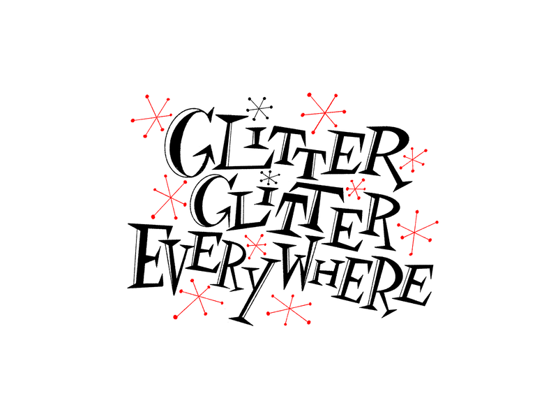 Glitter design black white and red all over illustration handlettering lettering typography horror scary big scary poster show poster