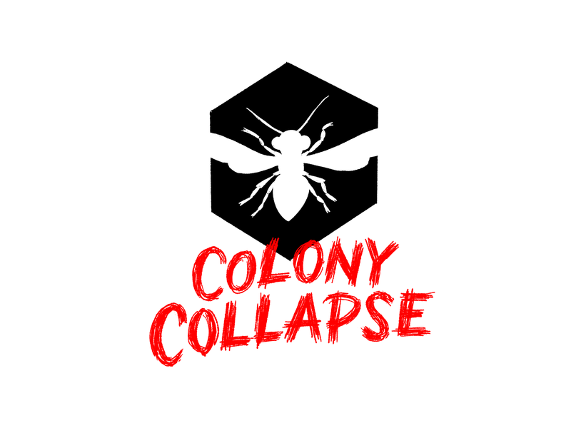 Colony Collapse design black white and red all over illustration handlettering lettering typography horror scary big scary poster show poster