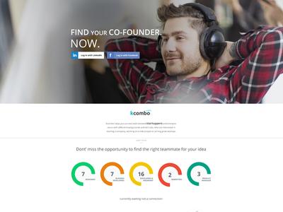 kcombo.com ui interface ux landingpage desktop startuppers entrepreneurs designers developers freecreative