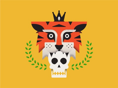 Tiger King: Murder, Mayhem and Madness tiger logo icon flat design design texture procreate vector illustration zoo nature laurel crown king animal skull tiger netflix joeexotic tigerking