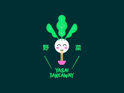 Yasai Vegetarian Takeaway identity japan character restaurant vegetarian japanese logo branding icon graphic design design vector illustration