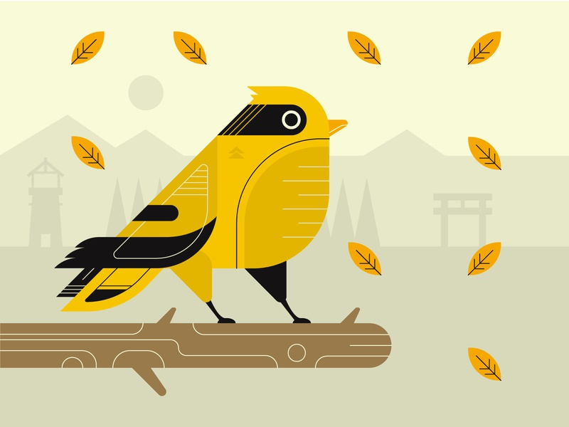 Tour Guide of Tsushima branding graphic design illustrator flat design vector illustration animal bird nature sony samurai japanese japan gaming ghostoftsushima