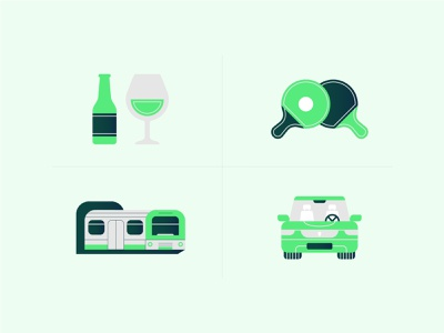 Activity Icons train car travel alcohol wine beer table tennis ux ui icon graphic design flat design design vector illustration