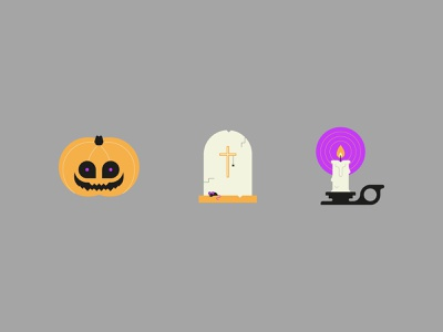 Halloween Icons Part II illustrator flame candle grave pumpkin icon graphic design flat design design vector illustration spooky autumn october halloween