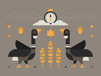 Flying South part II graphic design flat design harvest compass design vector logodesign logo illustration illustrator nature autumn plant animal bird migration wildlife