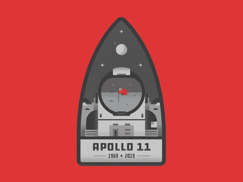 Apollo 11 Badge 2d design earth flag america graphic badge illustrator graphic design aaron draplin typography icon flat design travel astronaut apollo11 space moon vector illustration