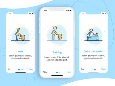 Wagging tail pet grooming application ux ui pet care pet walk pet training online consultation illustrations onboarding screens onboarding ui application design application ui pet app