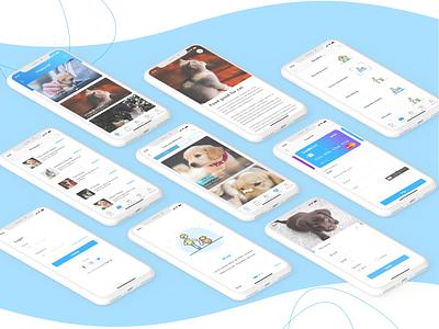 Happy Tail - Pet app ios app online consultation pet walk pet grooming pet app application ux ui illustration app design