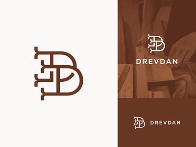 Drevdan logomark logo design monogram logo monogram vector branding carpenter carpentry logo